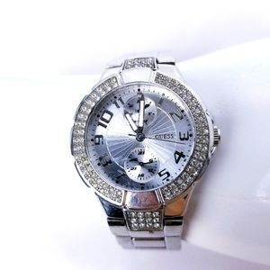Guess watch qubic encrusted and silver